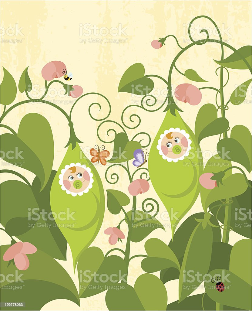 Sweet pea twins royalty-free stock vector art