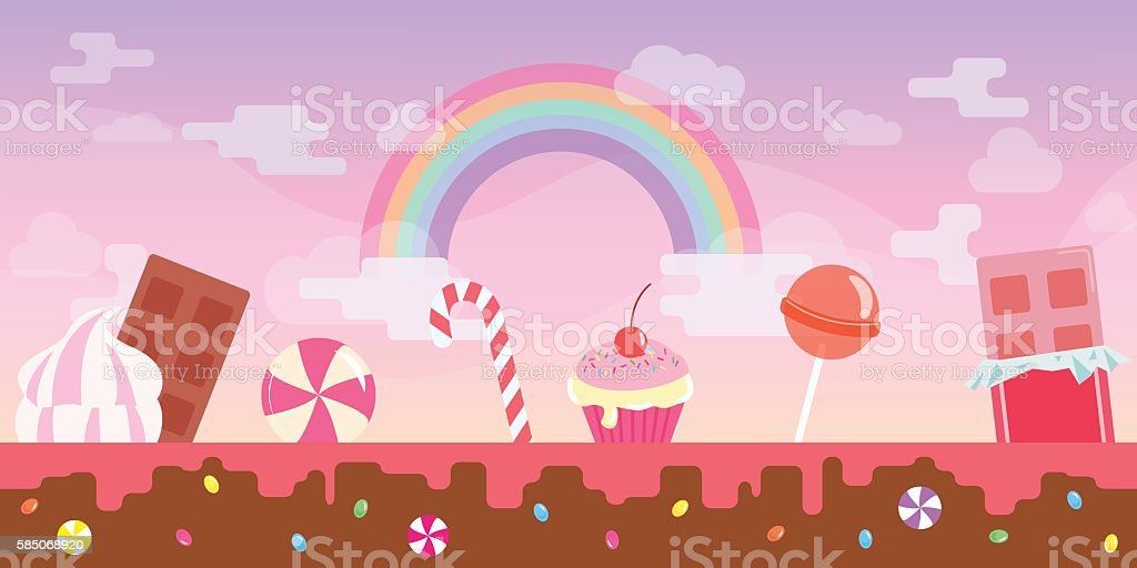 Sweet pink flat candy game background vector art illustration