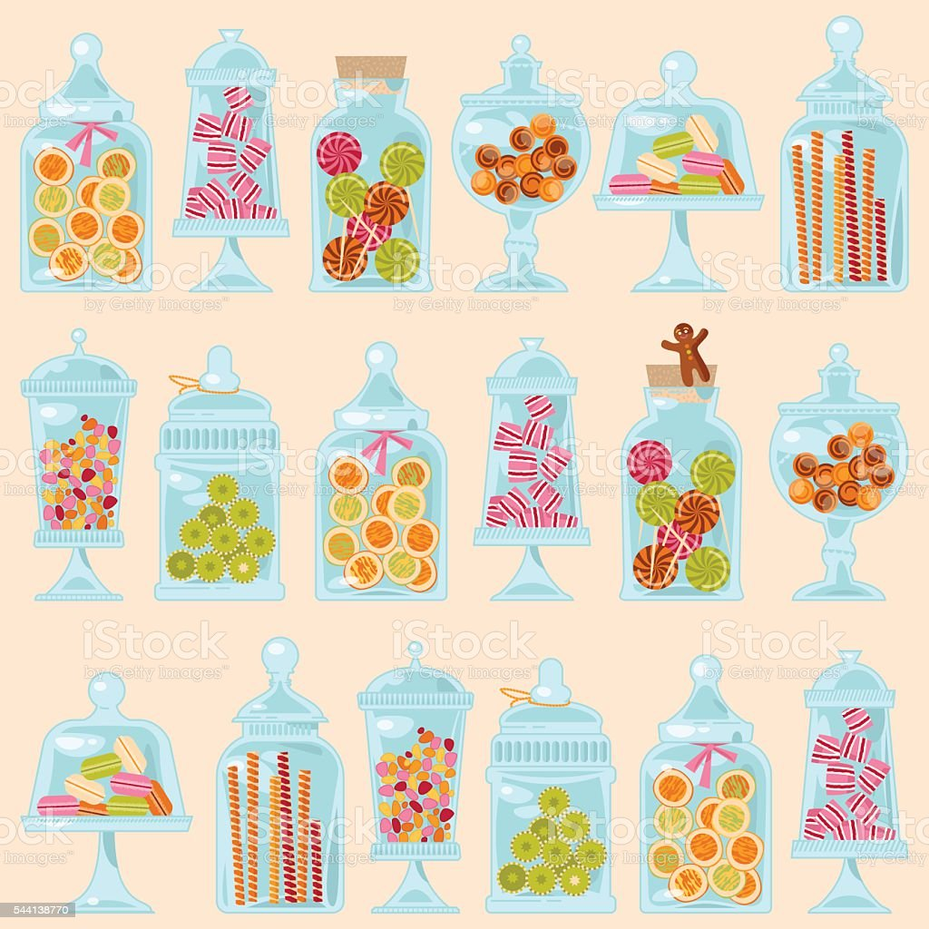 Sweet shop. Glass jars of various forms with diferent candies. vector art illustration