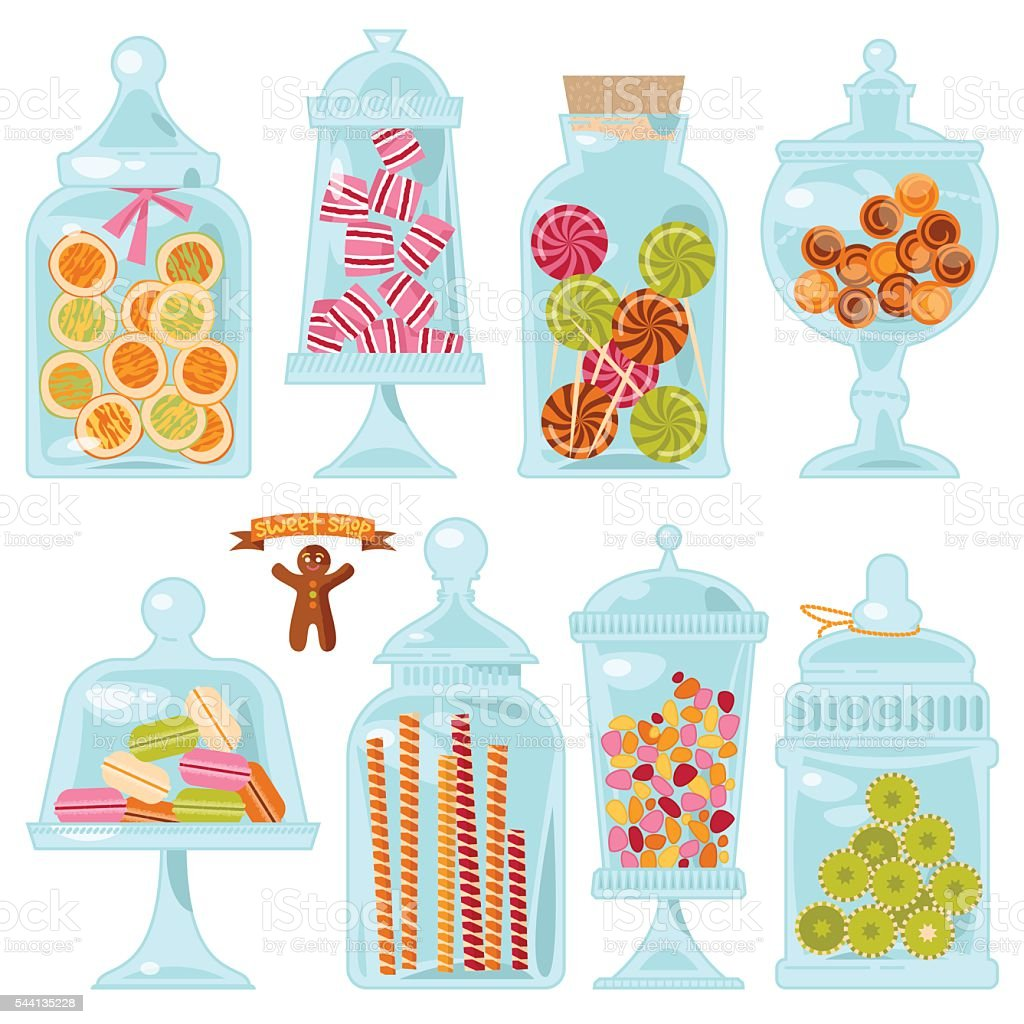 Sweet shop. Glass jars of various forms with different candies. vector art illustration