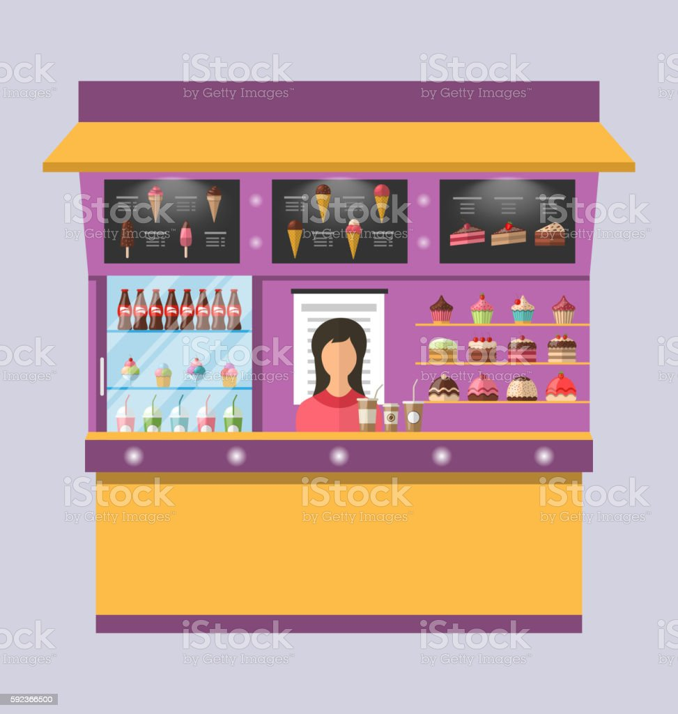 Sweet Shop with Cakes, Ice Creams, Muffins vector art illustration