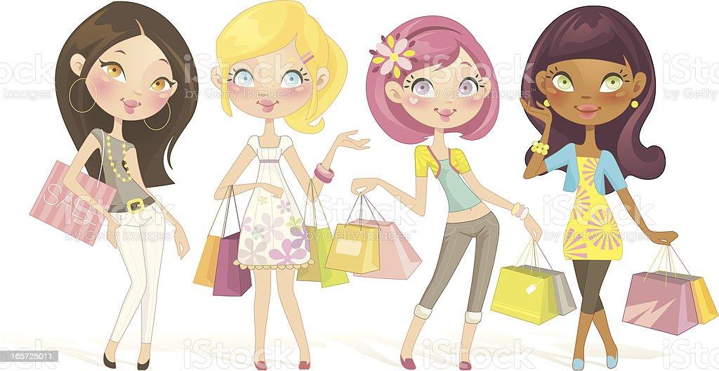 Sweet Shopping Dolls vector art illustration