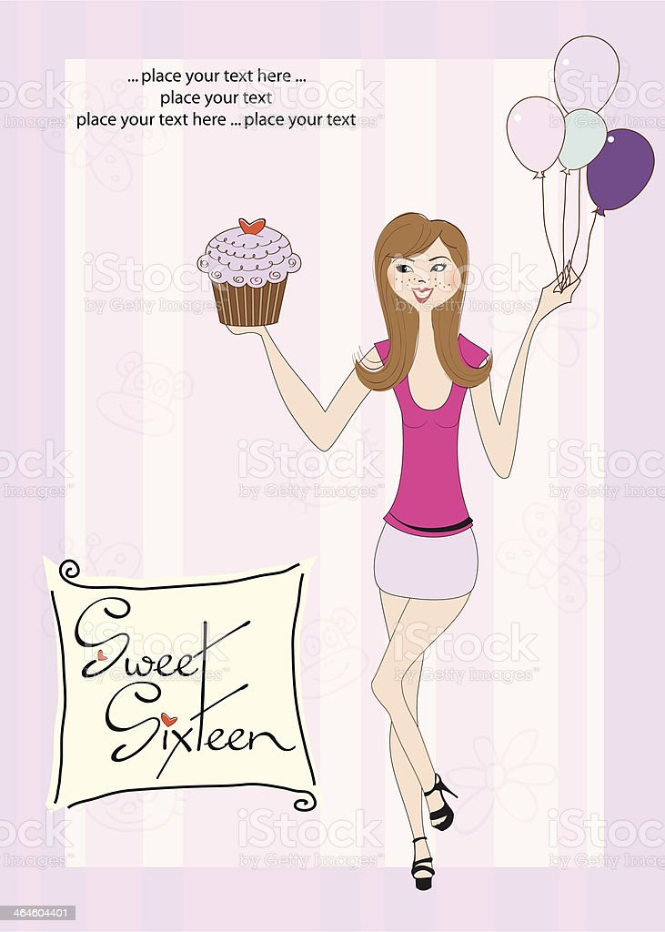 Sweet Sixteen Birthday card with young girl royalty-free stock vector art