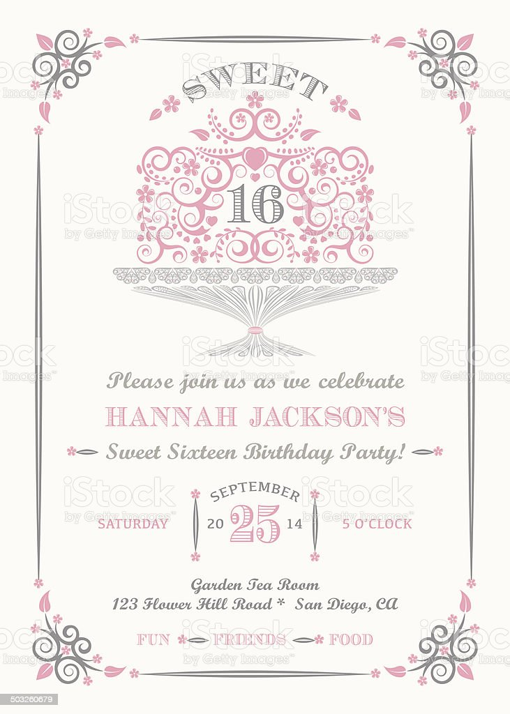 Sweet Sixteen Invitation vector art illustration