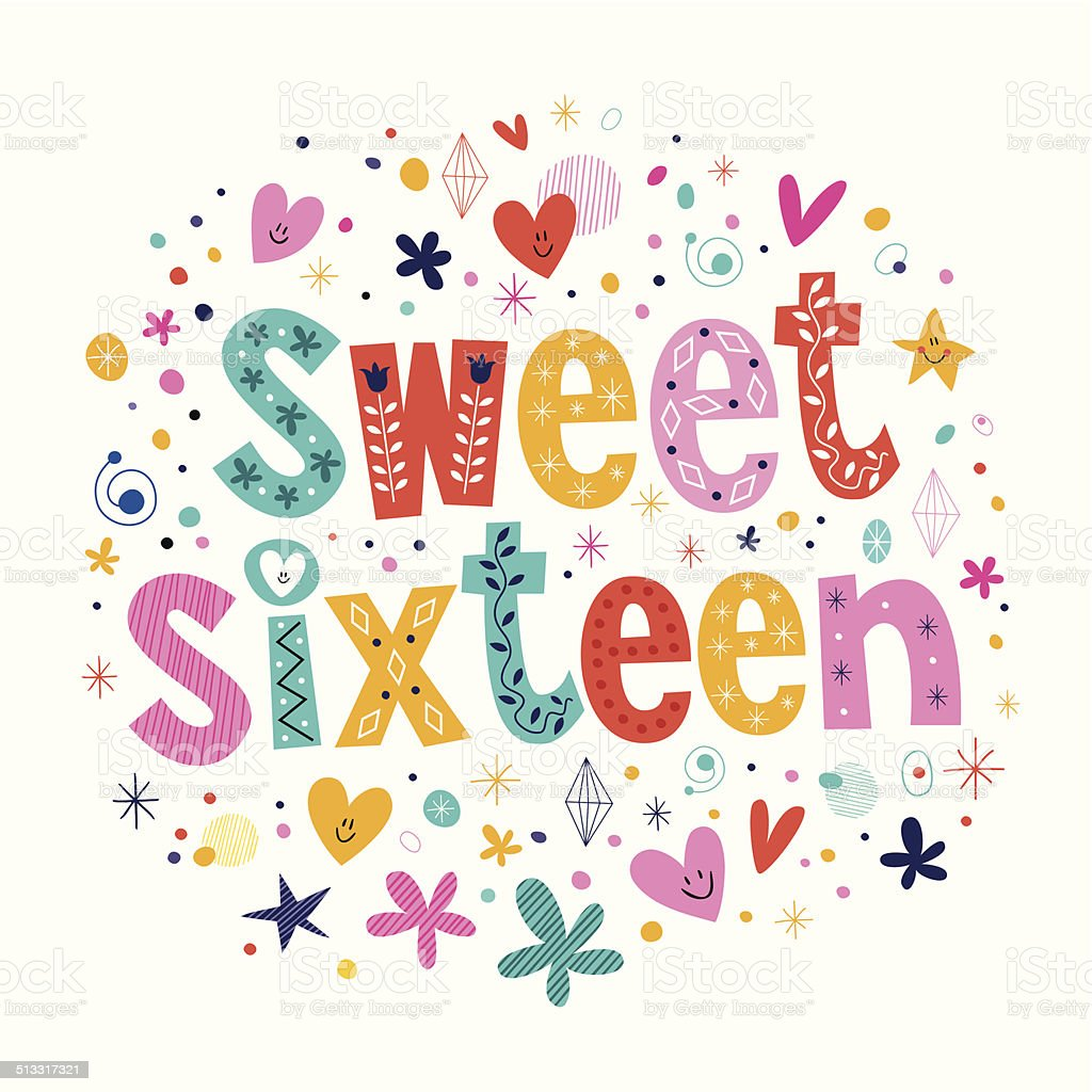 Sweet Sixteen vector art illustration