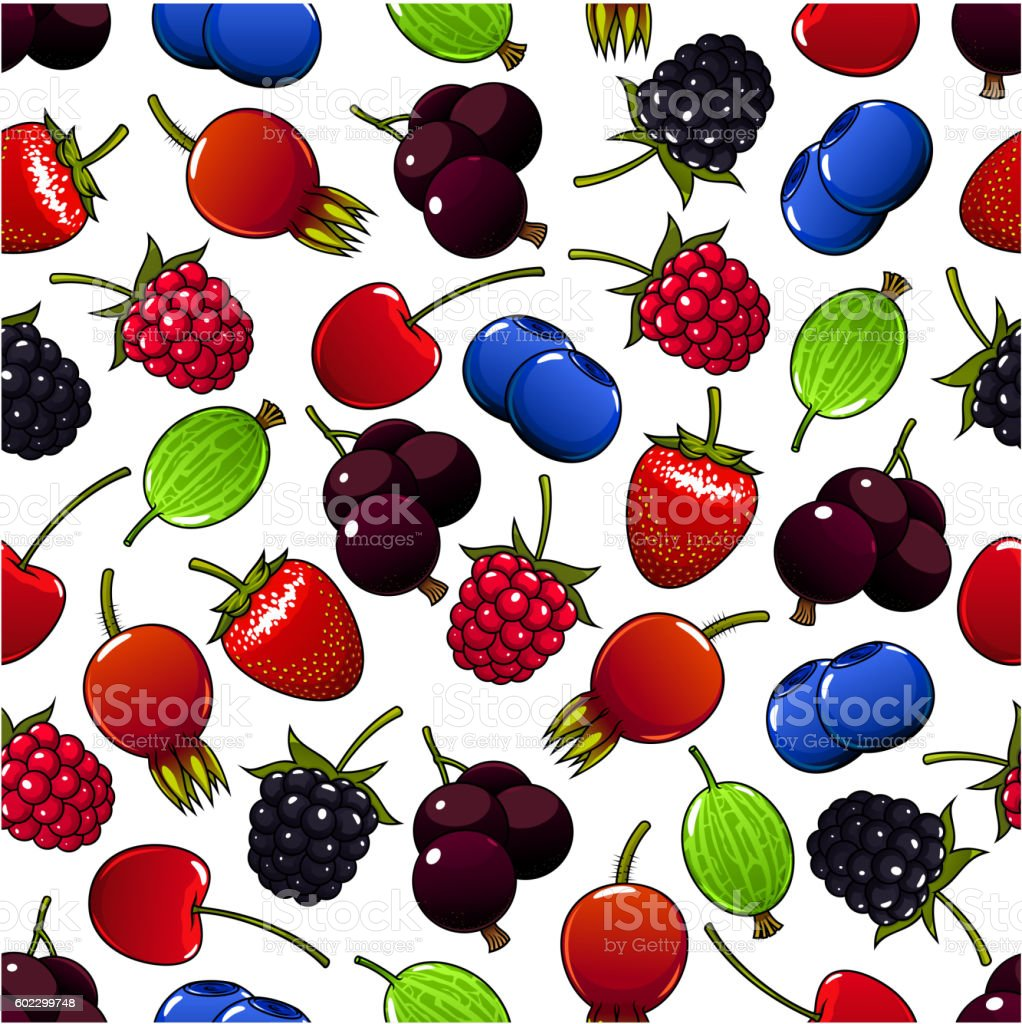 Sweet summer berry and fruit seamless pattern vector art illustration
