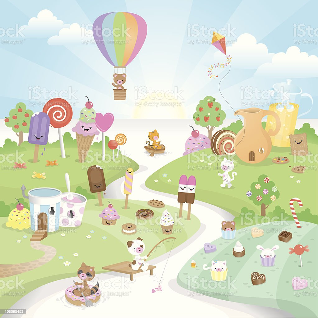 Sweet summer candy paradise vector art illustration