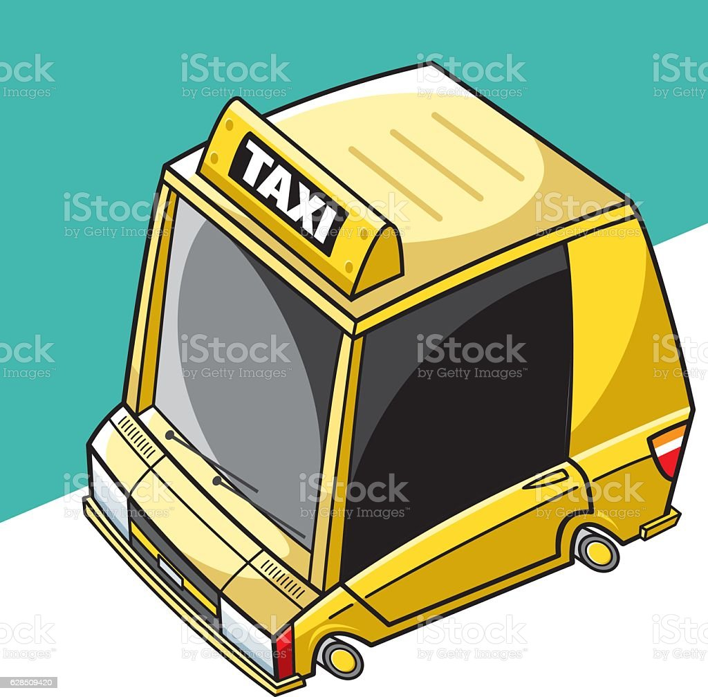 Sweet taxi car vector art illustration