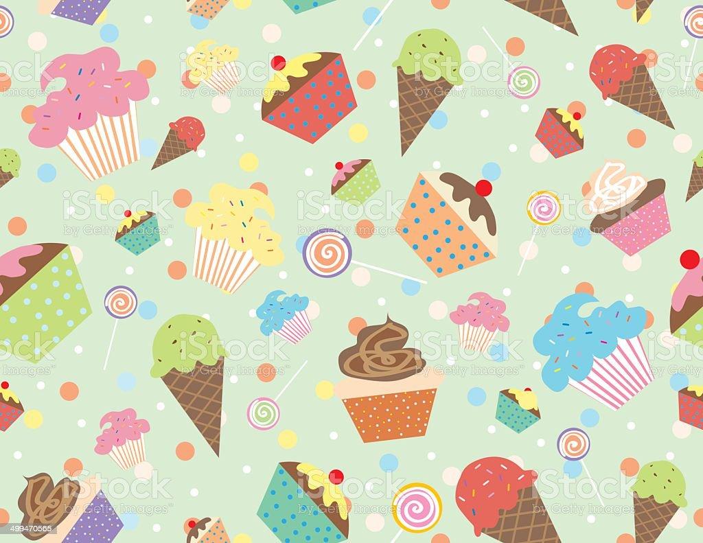 Sweet treats seamless wallpaper royalty-free stock vector art