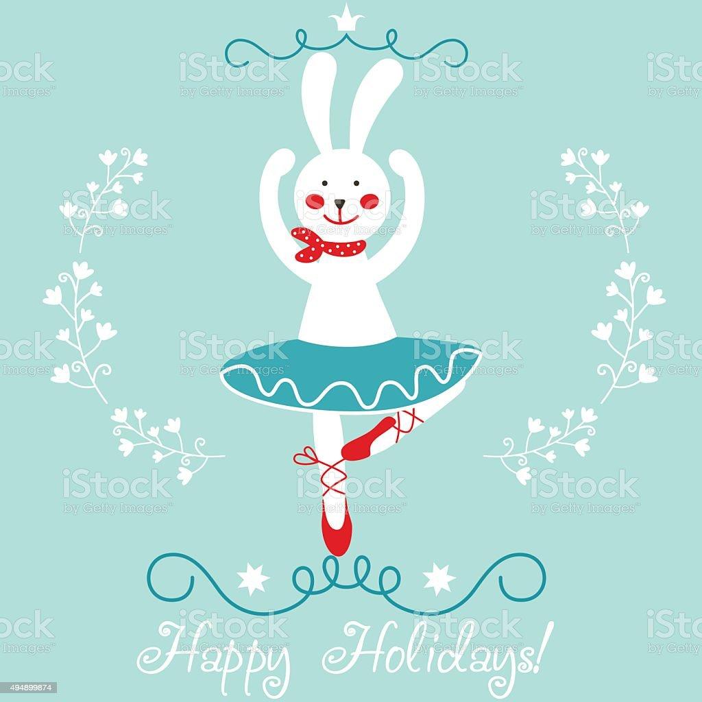 Sweet vector card 'Happy Holidays!' with little cute bunny ballerina vector art illustration