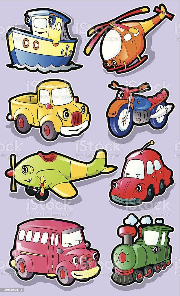 Sweet vehicle characters. vector art illustration