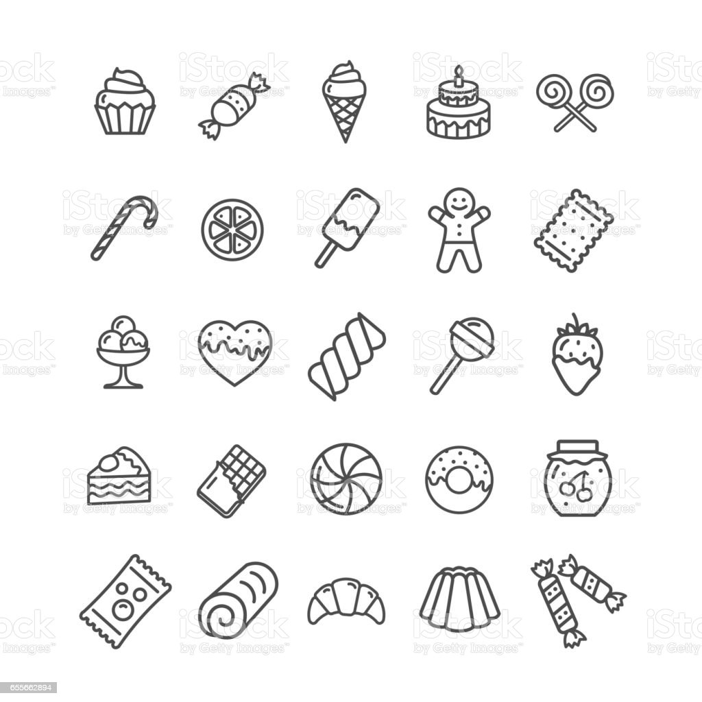 Sweets and Bakery Icon Black Thin Line Set. Vector vector art illustration