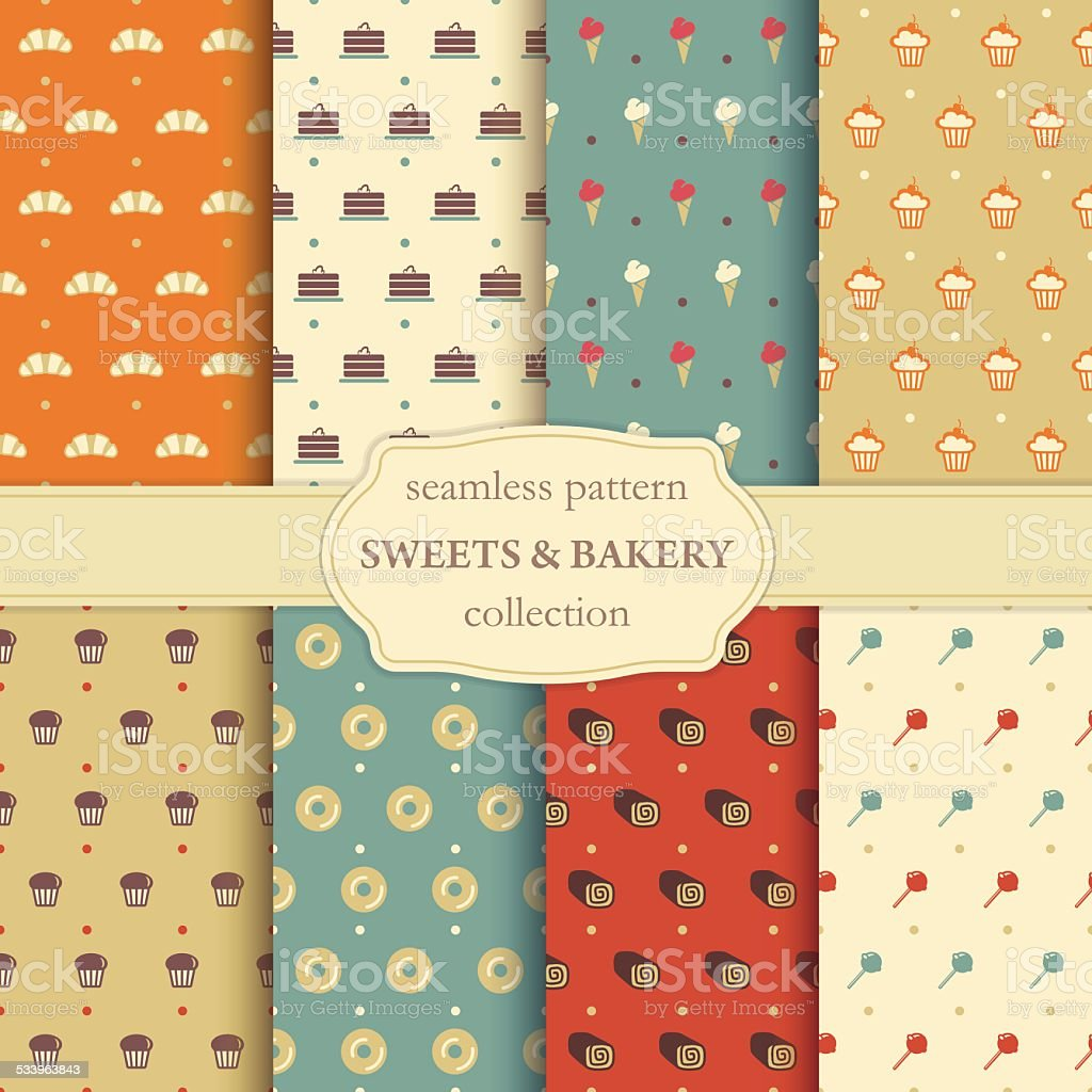 Sweets and bakery seamless pattern vector art illustration