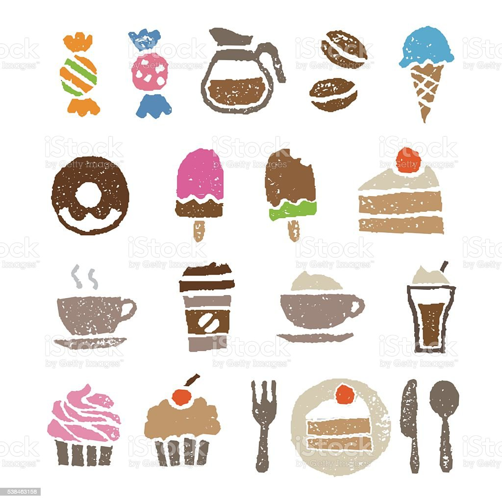 Sweets and cafe elements vector art illustration