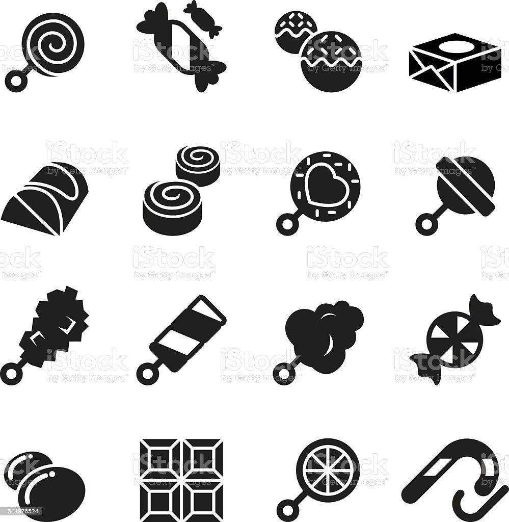 Sweets and candies icons vector art illustration