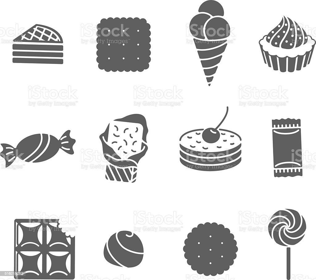 Sweets and confectionery. Set of Black Icons. vector art illustration