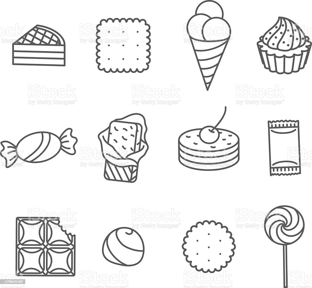 Sweets and confectionery. Set of Outline Icons. vector art illustration