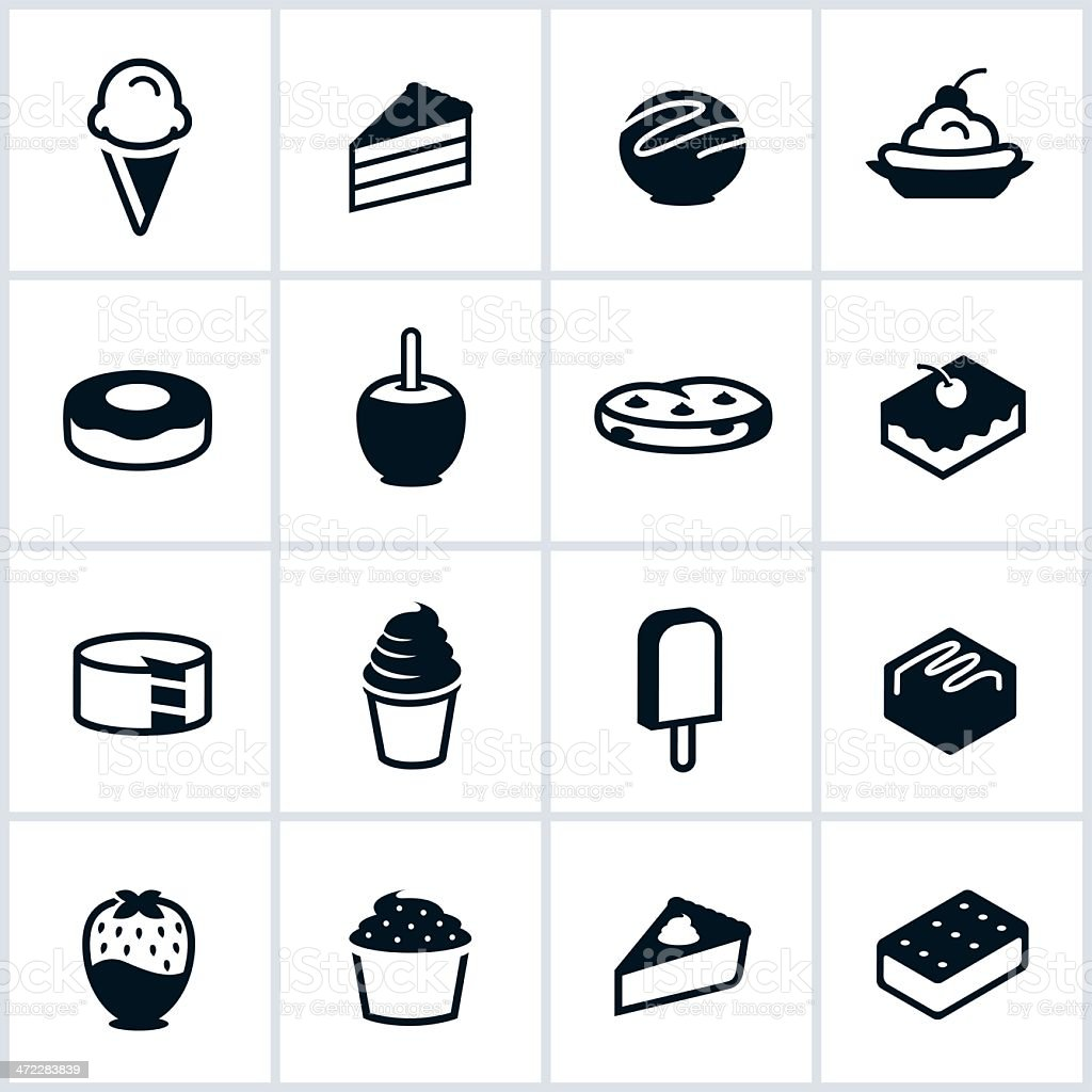 Sweets and Desserts Icons vector art illustration