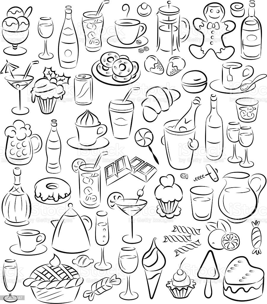 sweets and drinks vector art illustration