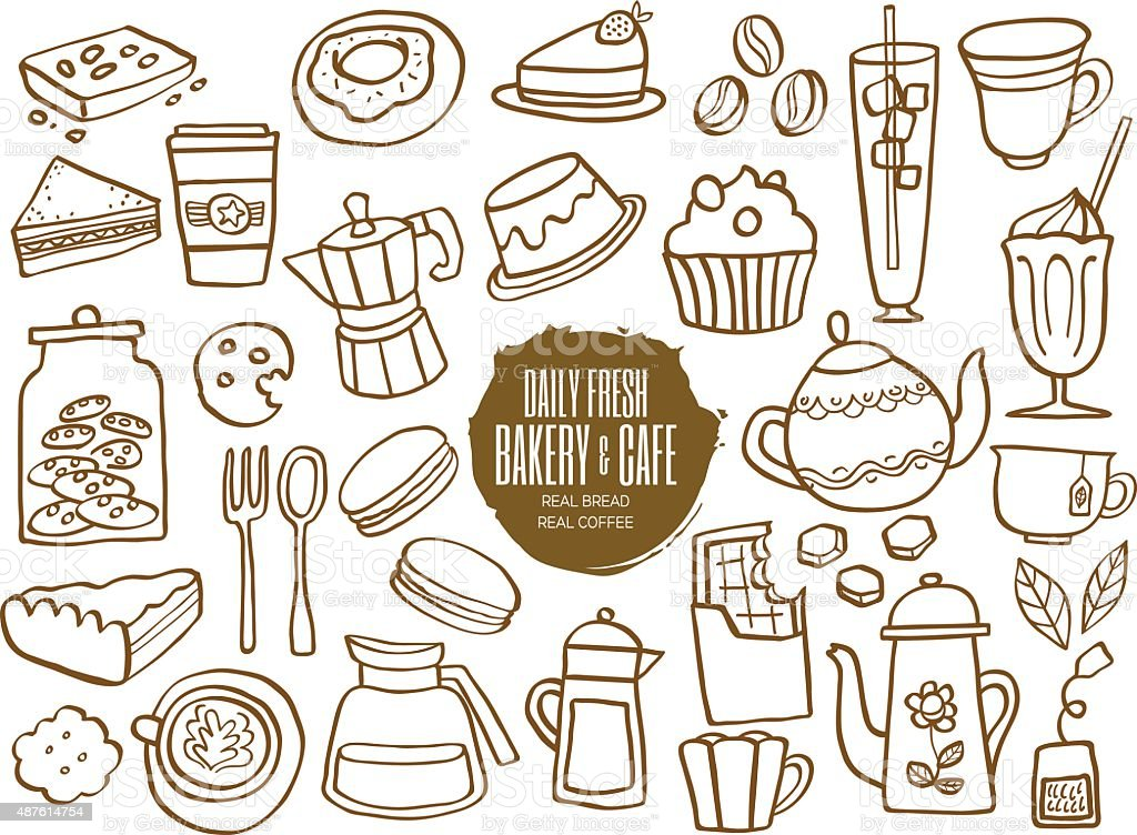 sweets bakery cafe coffee drinks doodles vector art illustration