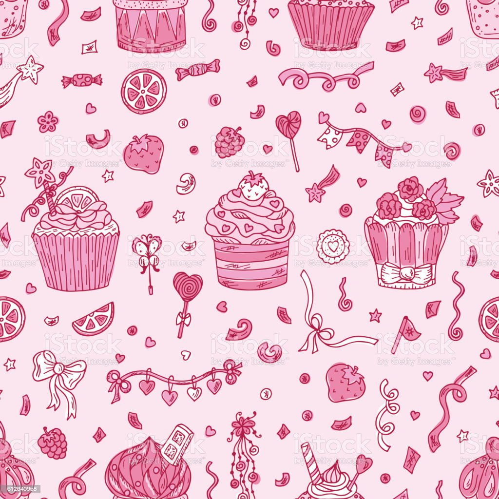 Sweets. Birthday background. Cupcakes Seamless pattern. Hand drawn Party decorations. vector art illustration