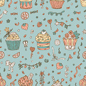 Sweets. Birthday background. Cupcakes Seamless pattern. Hand drawn Party decorations.
