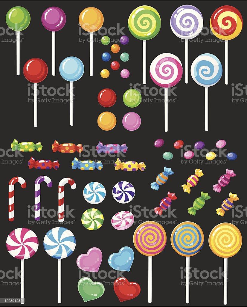 sweets candy set vector art illustration