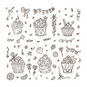 Sweets. Cupcakes hand drawn doodle set. Holiday party attributes