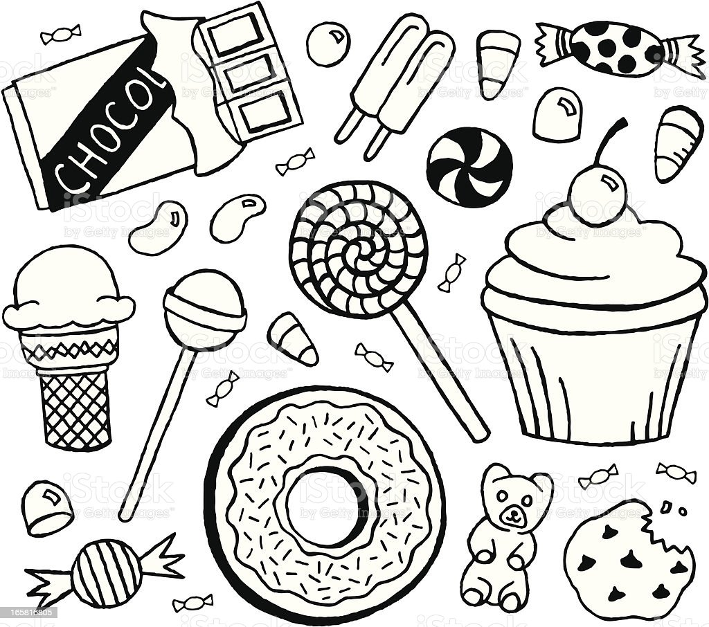 Sweets Doodles vector art illustration