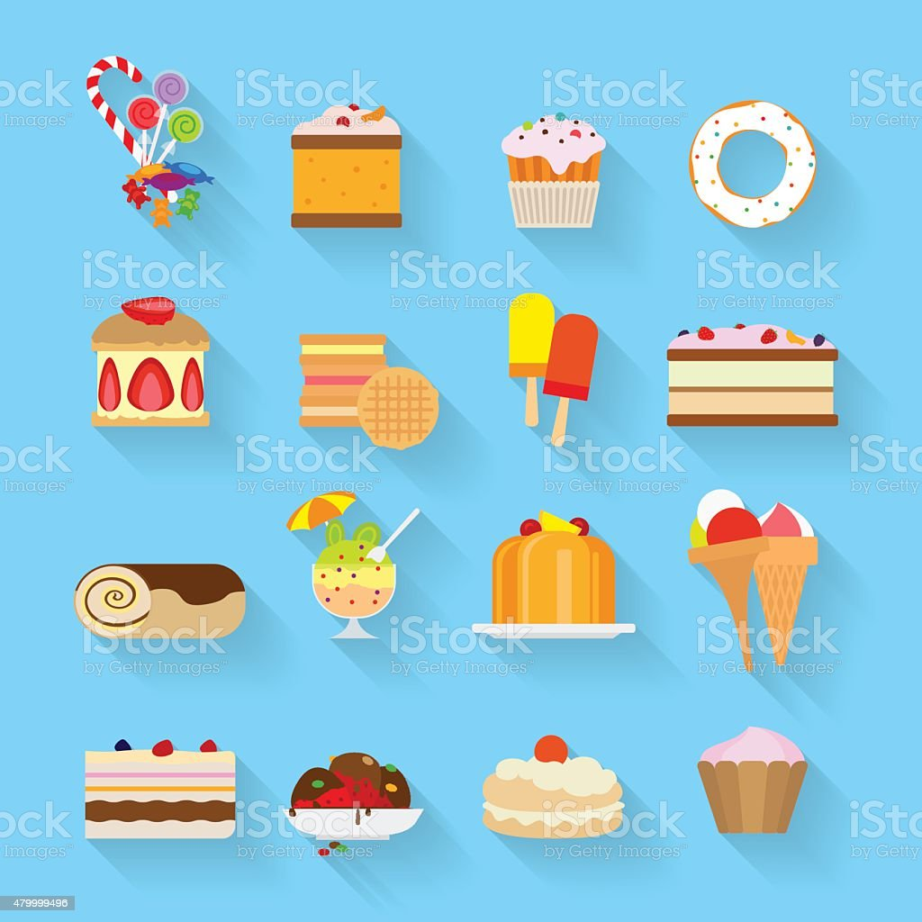 Sweets flat icons vector art illustration