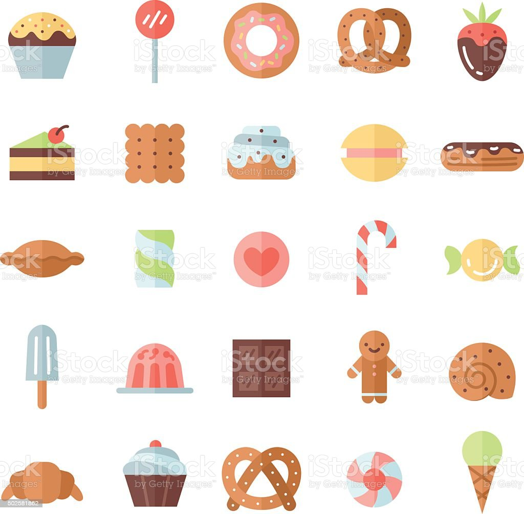 Sweets flat multicolored icons vector set. Minimalistic design. vector art illustration