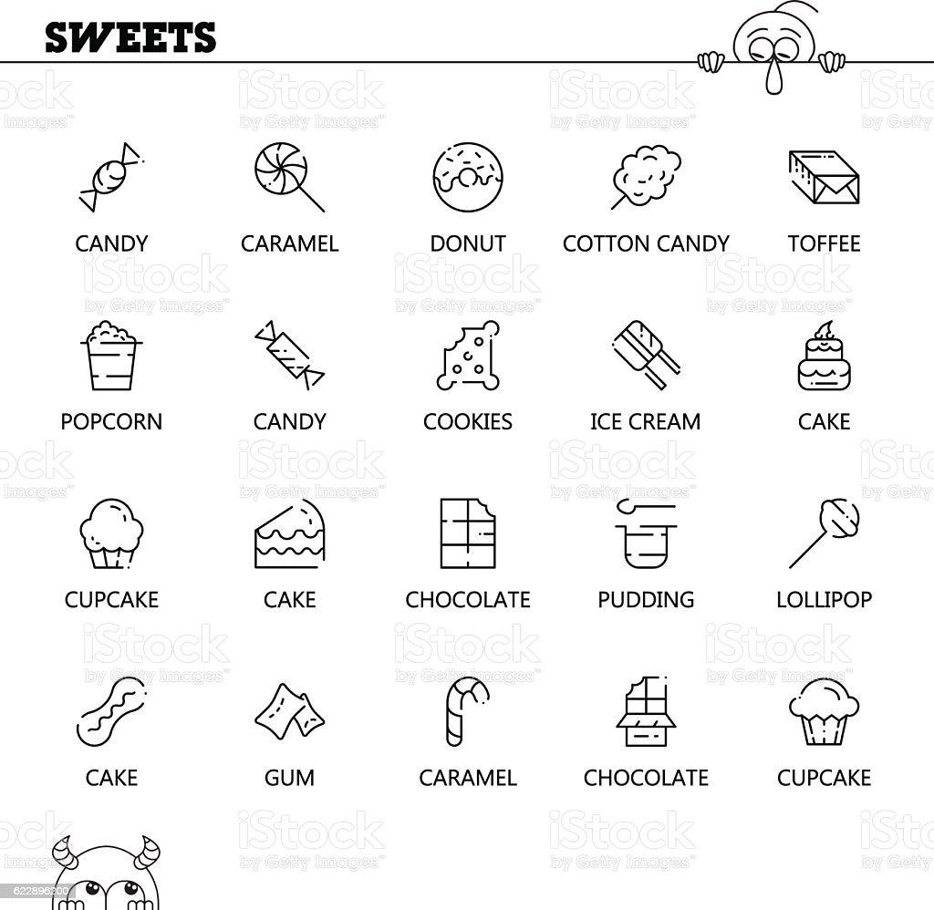 Sweets food flat icon set for web design. vector art illustration