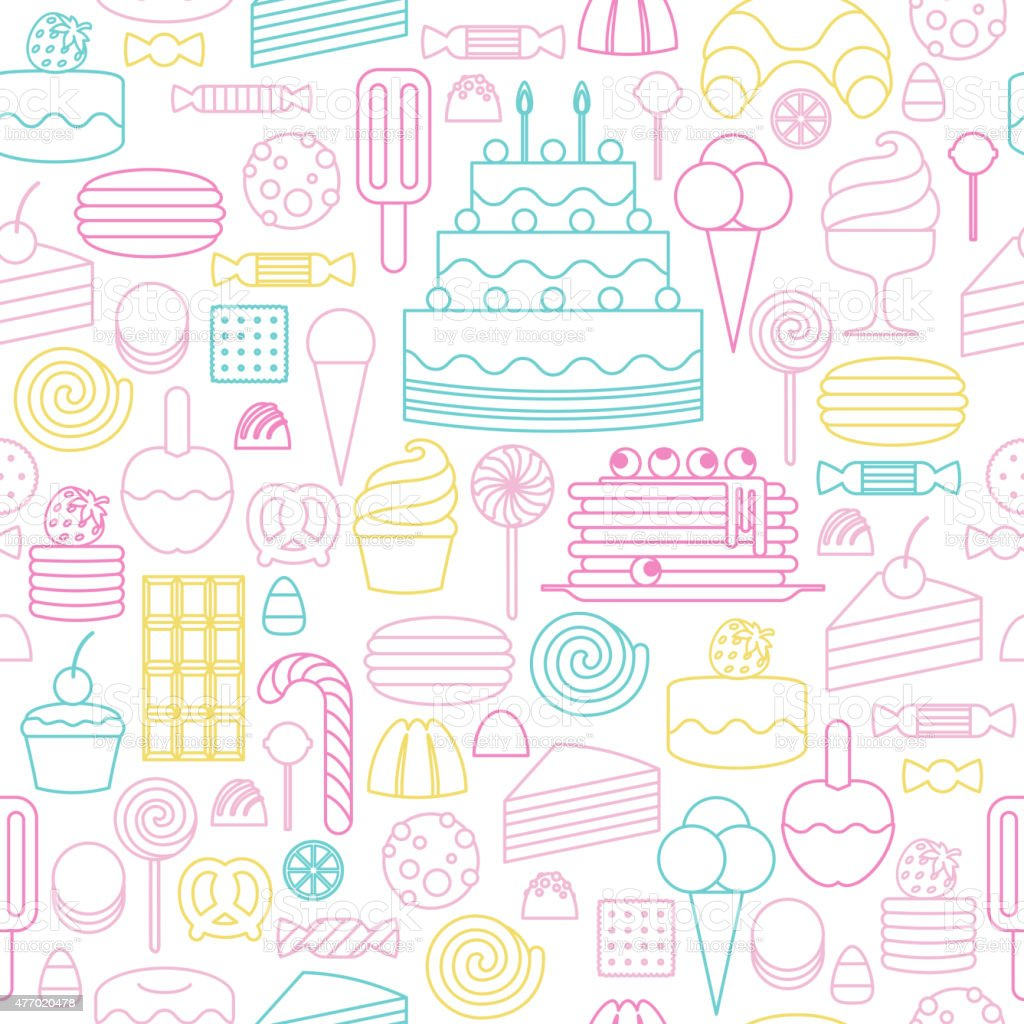 Sweets icons outline style seamless background vector art illustration