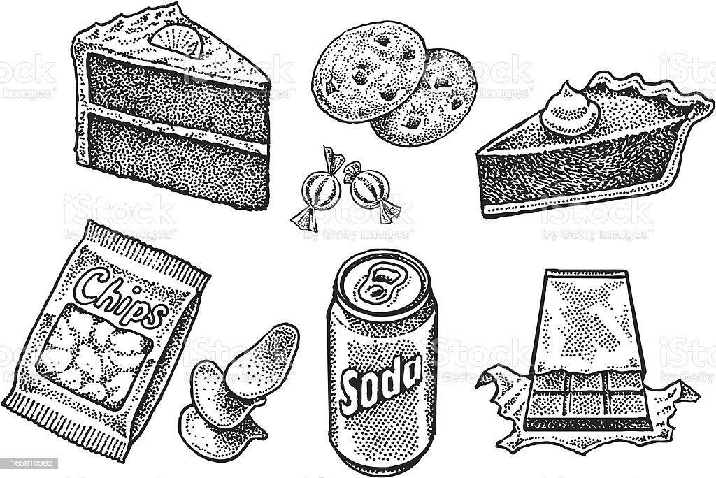 Sweets, Junk Food - Cake, Cookies, Pie, Soda, Chips, Candy vector art illustration