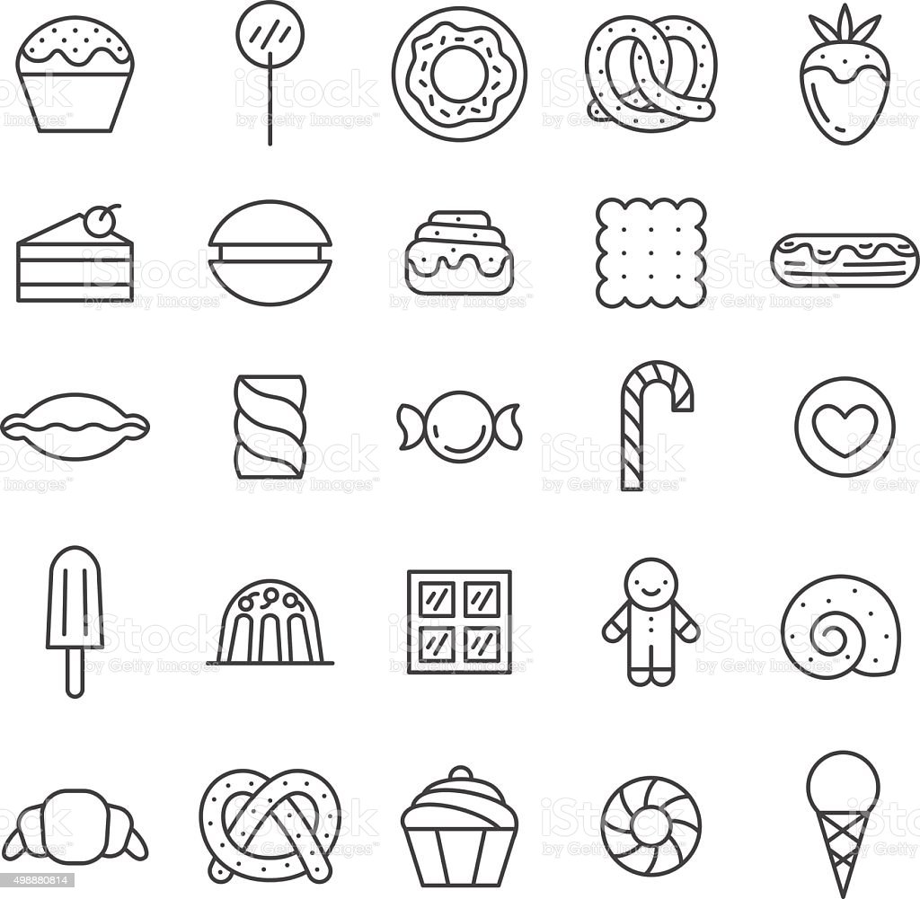 Sweets outline gray icons vector set. Minimalistic design. vector art illustration