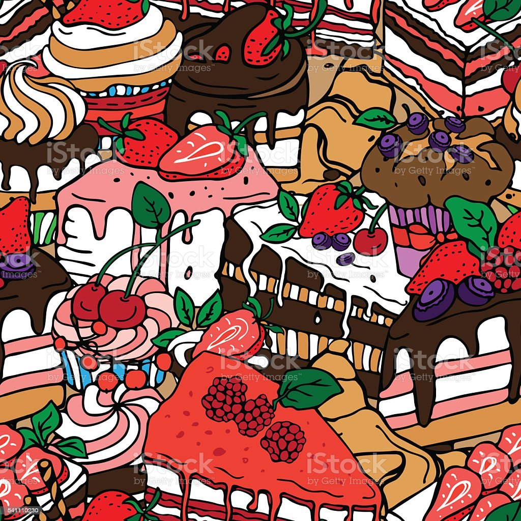 sweets party pattern vector art illustration