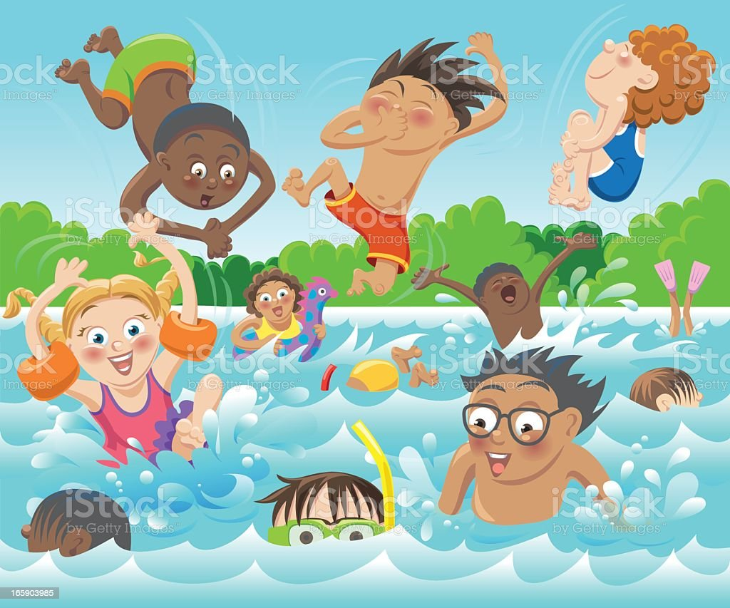 Swim Kids vector art illustration