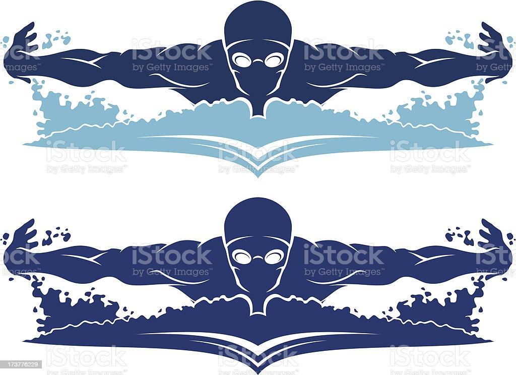 Swimmer front view vector art illustration