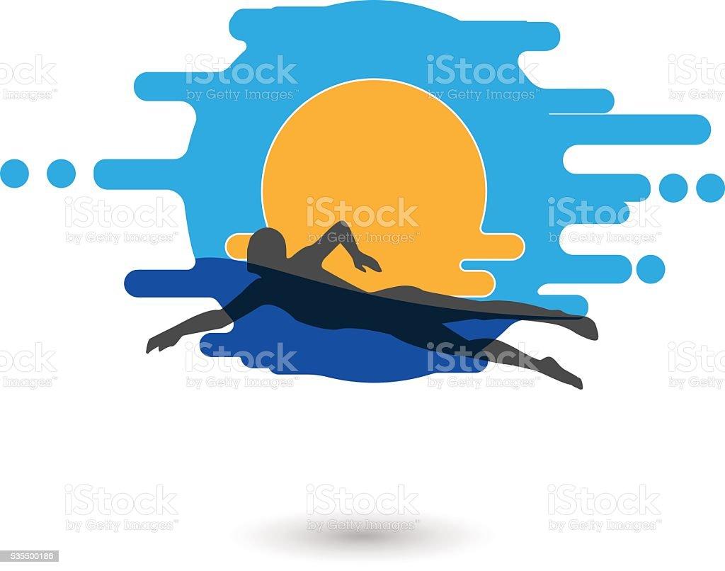 Swimmer Logo Design Element. vector art illustration