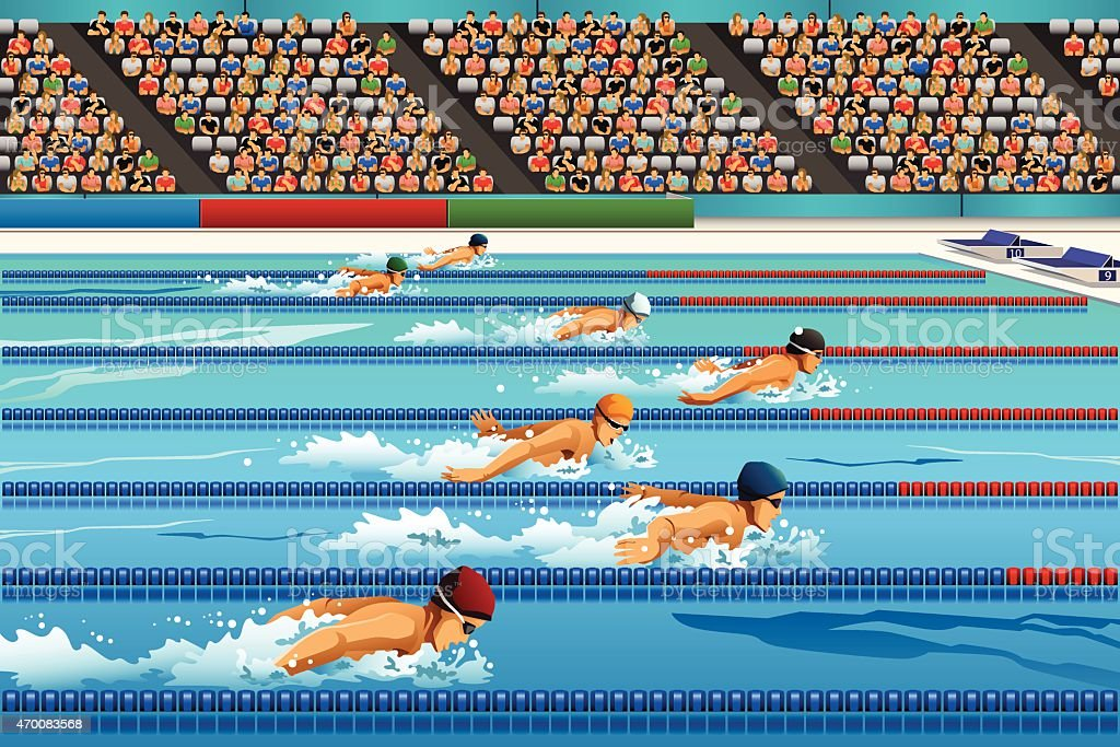Swimming competition vector art illustration