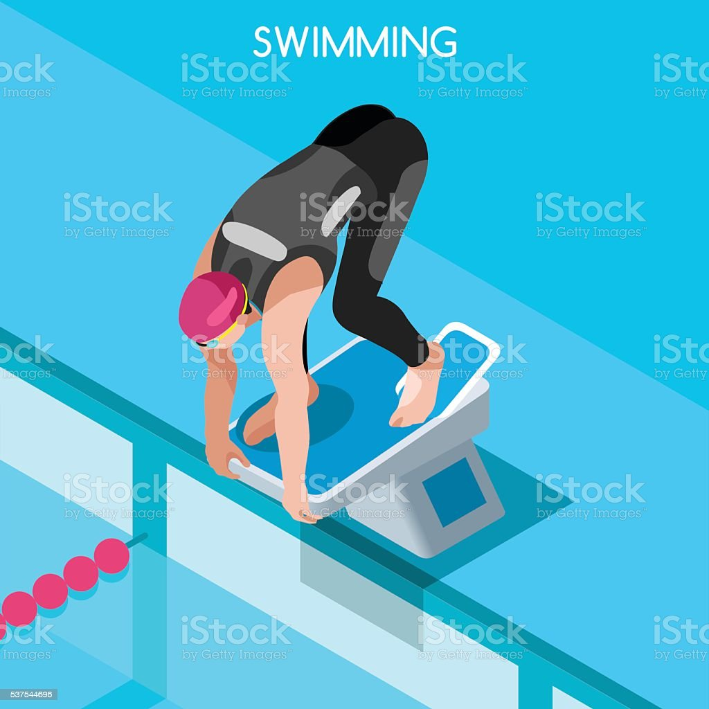 Swimming Freestyle Athlete Isometric Backstroke Sport International Butterfly Swimmer Competition vector art illustration