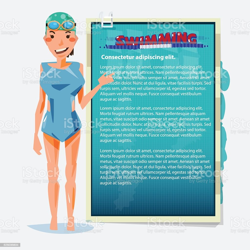 swimming girl presenting. benefit of swimming sport - vector vector art illustration