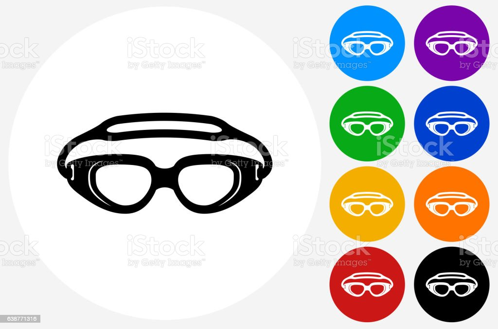 Swimming Goggles Icon on Flat Color Circle Buttons vector art illustration