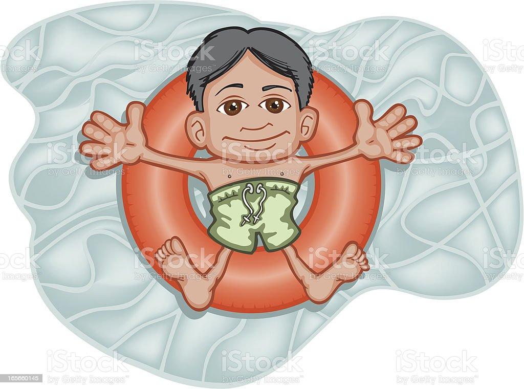 Swimming Hispanic Boy royalty-free stock vector art