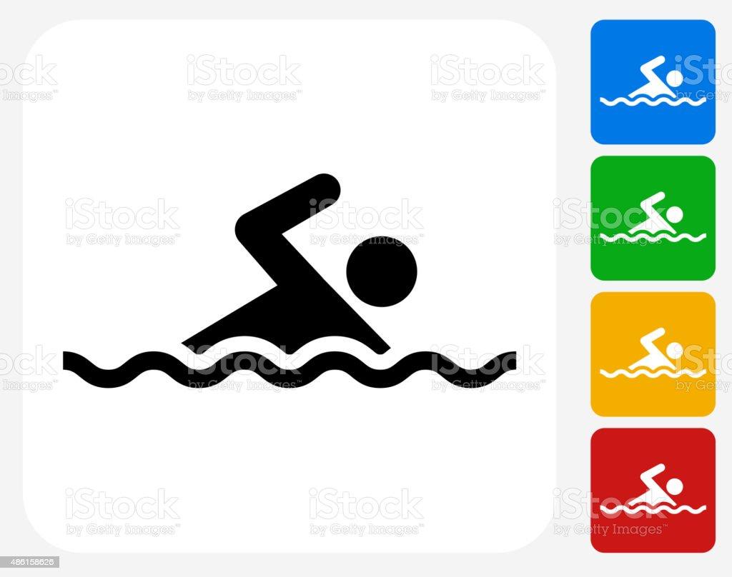 Swimming Icon Flat Graphic Design vector art illustration