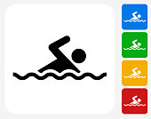 Swimming Icon Flat Graphic Design