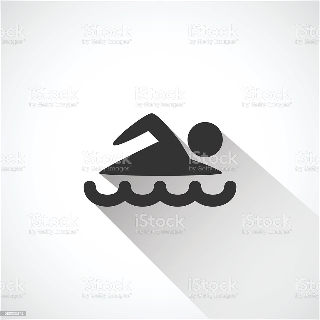 swimming  icon logo - silhouette vector illustration , Long Shad vector art illustration