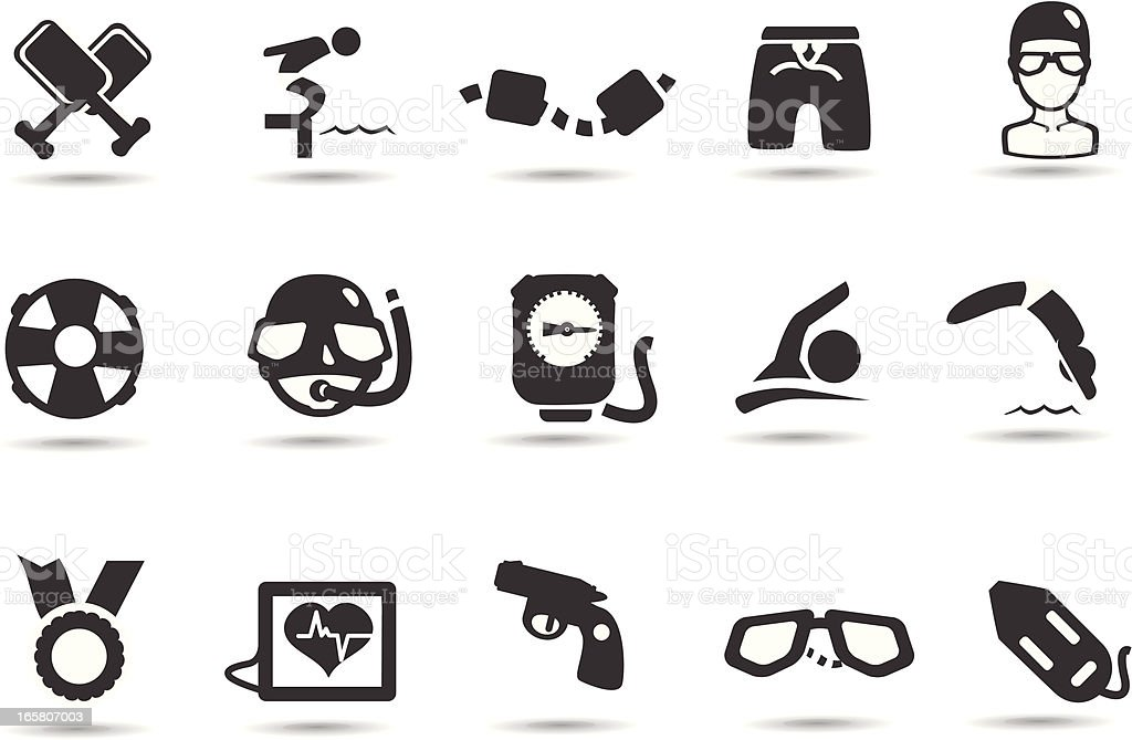 Swimming Icons royalty-free stock vector art