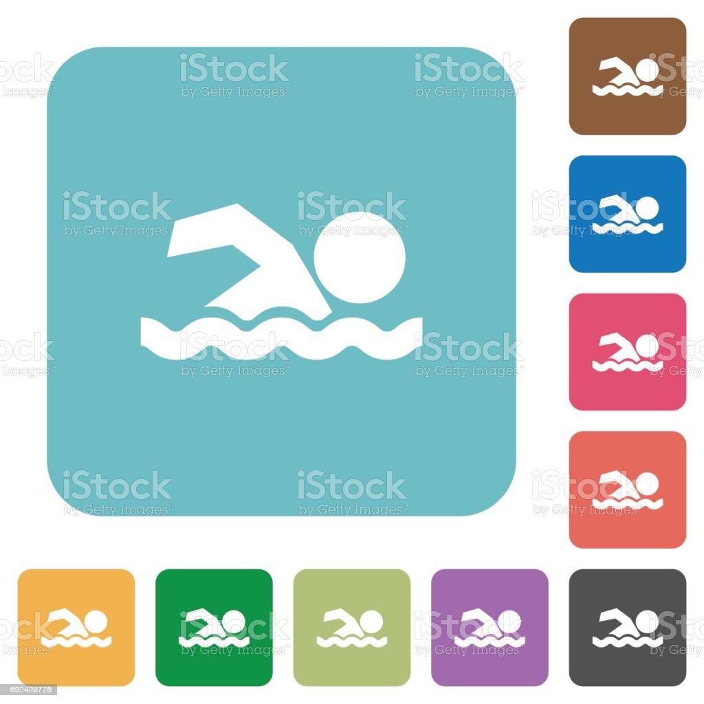 Swimming man rounded square flat icons vector art illustration