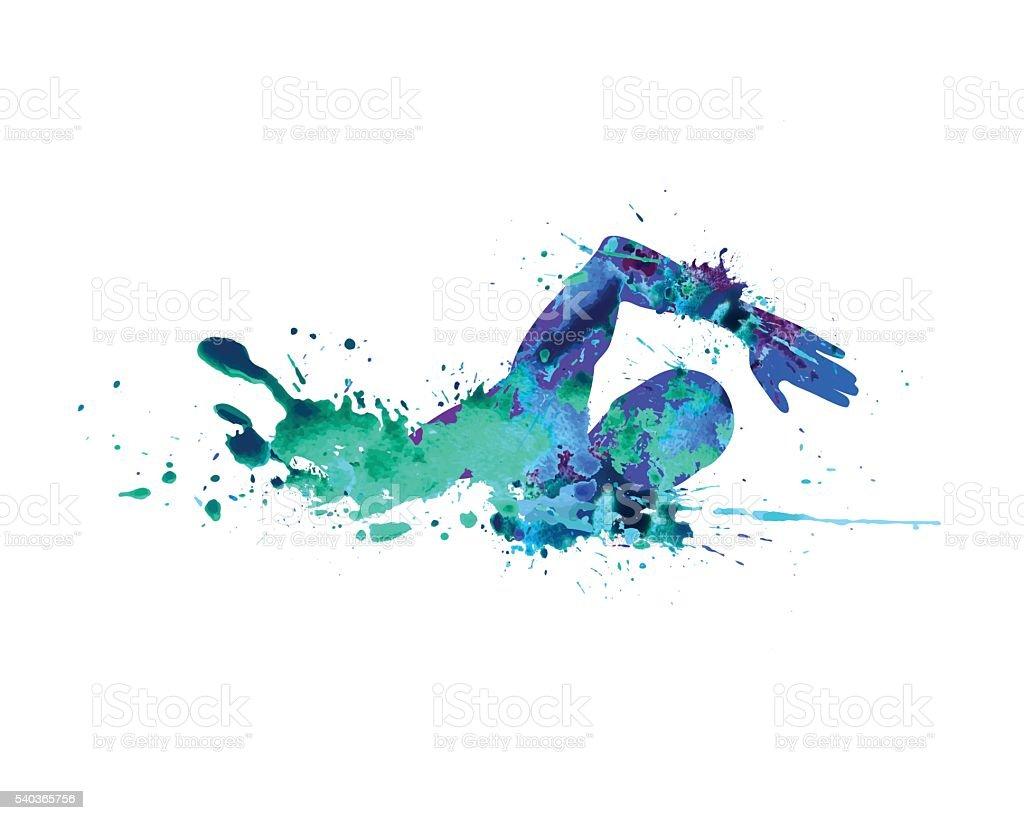 Swimming man. Splash paint vector art illustration